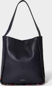 Women's Navy Large Leather Hobo Bag With 'swirl' Trims