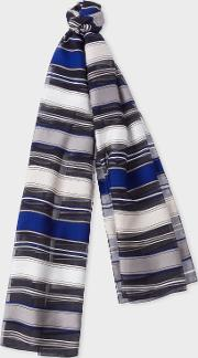Women's Navy Stripe Sheer Silk Blend Scarf