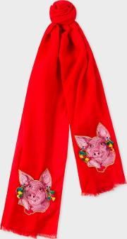 Women's Red 'year Of The Pig' Embroidered Wool Scarf