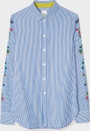 Women's Slim Fit Blue And White Stripe Shirt With Embroidered Floral Sleeve Detail