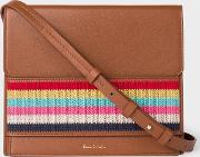 Women's Tan Leather Cross Body Bag With Multi Coloured Stripe Embroidered Detail
