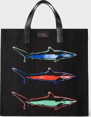 'artful Lives Shark' Black Canvas Tote Bag