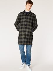 Men's Black And Green Check Wool Blend Unlined Mac