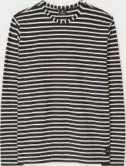 Men's Black And White Stripe Cotton Long Sleeve T Shirt