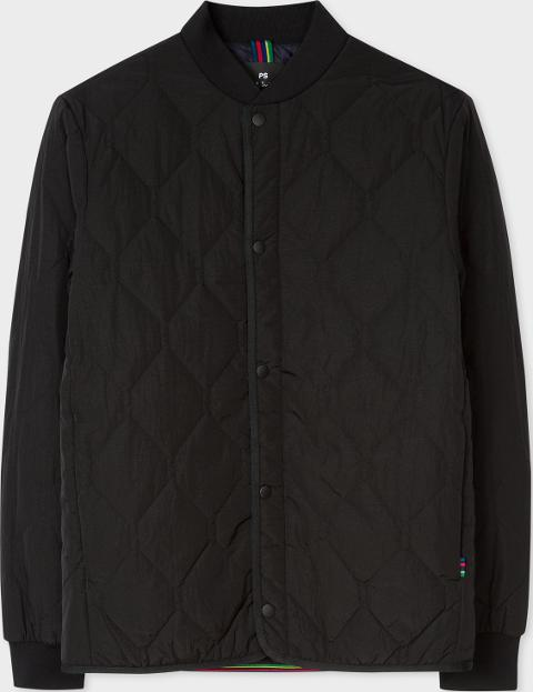 ced0f1d95a07a Men's Black Diamond Quilted Bomber Jacket