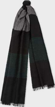 Men's Black Stripe Herringbone Motif Wool Blend Scarf