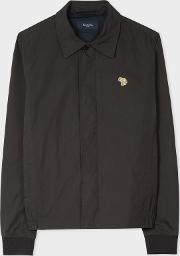 Men's Black Zebra Logo Coach Jacket