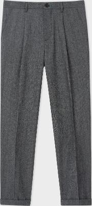Men's Dark Grey Marl Pleated Wool And Cotton Blend Trousers