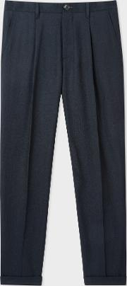 Men's Dark Navy Pleated Wool And Cotton Blend Trousers