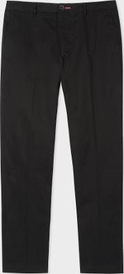 Men's Mid Fit Black Stretch Cotton Chinos