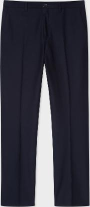 Men's Mid Fit Dark Navy Pleat Front Chinos