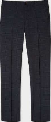 Men's Mid Fit Dark Navy Small Check Wool Trousers
