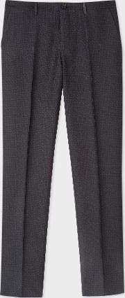 Men's Mid Fit Dark Navy Textured Check Wool Blend Trousers