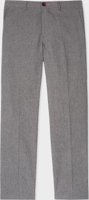 Men's Mid Fit Grey Marl Stretch Cotton Chinos