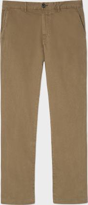 Men's Mid Fit Light Brown Stretch Cotton Chinos
