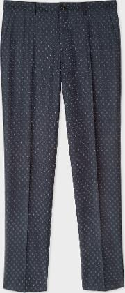 Men's Mid Fit Navy Checkerboard Cross Jacquard Trousers