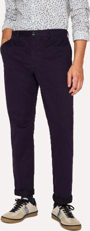 Men's Mid Fit Navy Stretch Cotton Chinos