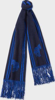 Men's Navy And Blue 'zebra' Double Face Scarf