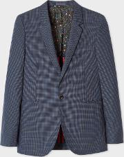 Men's Navy Check Buggy Lined Cotton Blazer