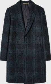 54bc2f3b444 ps paul smith Men s Navy Check Wool Blend Epsom Coat