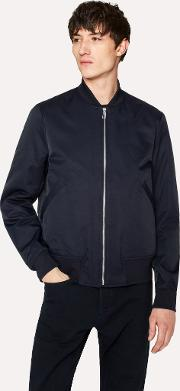 Men's Navy Cotton Blend Wadded Bomber Jacket