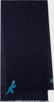 Men's Navy Embroidered 'dino' Wool Scarf