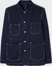 Men's Navy Over Dyed Denim Chore Jacket With Contrast Stitching