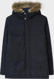 Men's Navy Quilted Parka With Faux Fur Hood Detail