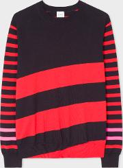 Men's Red And Navy Stripe Crew Neck Cotton Sweater
