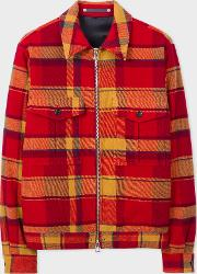 Men's Red Wool Blend Blanket Check Patch Pocket Jacket