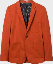 Men's Rust Cotton Blend Buggy Lined Blazer