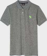 Men's Slim Fit Grey Embroidered 'zebra' Polo Shirt