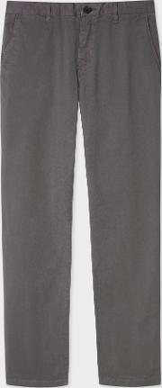 Men's Slim Fit Grey Stretch Pima Cotton Chinos