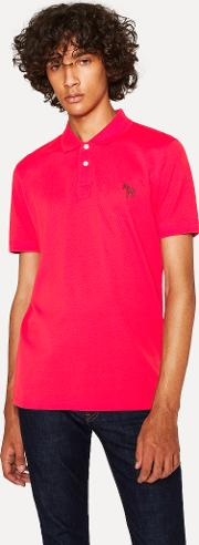Men's Slim Fit Red Embroidered 'zebra' Polo Shirt