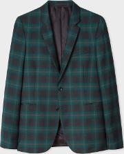 Men's Slim Fit Teal Check Fully Lined Wool Blazer