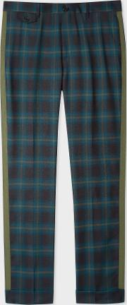 Men's Slim Fit Teal Check Wool Trousers With Khaki Stripe Detail