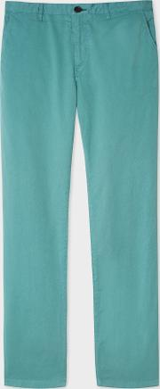 Men's Slim Fit Turquoise Stretch Pima Cotton Chinos
