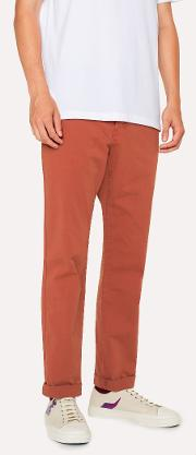 Men's Tapered Fit Burnt Orange Stretch Pima Cotton Chinos