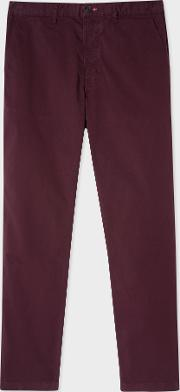Men's Tapered Fit Damson Garment Dyed Stretch Cotton Chinos