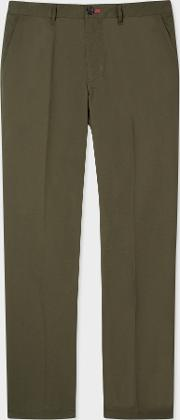 Men's Tapered Fit Khaki Stretch Cotton Chinos