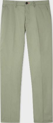 Men's Tapered Fit Light Green Stretch Cotton Chinos