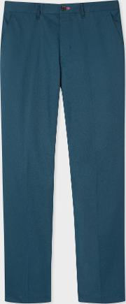 Men's Tapered Fit Petrol Blue Stretch Cotton Chinos