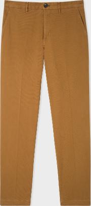 Men's Tapered Fit Tan Stretch Cotton Chinos