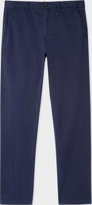 Men's Tapered Fit Washed Navy Garment Dyed Stretch Cotton Chinos