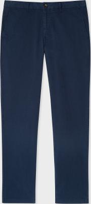 Men's Tapered Fit Washed Navy Stretch Pima Cotton Chinos