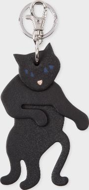 Women's Black Leather 'cat' Keyring