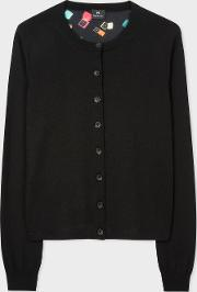 Women's Black Wool Cardigan With 'ring Boxes' Print Back