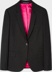 Women's Black Wool Hopsack Blazer With 'acapulco' Lining