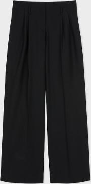 Women's Black Wool Parallel Leg Trousers