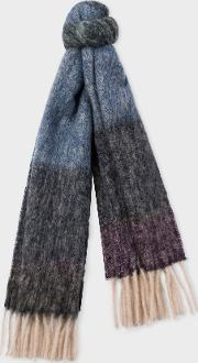 Women's Blue And Purple Border Alpaca Blend Scarf